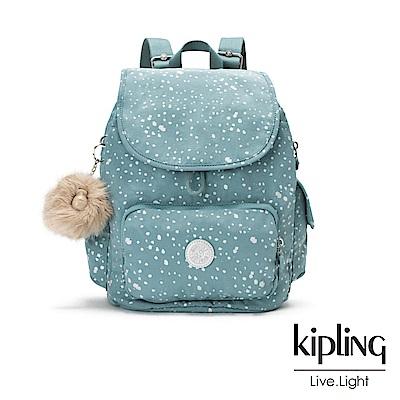 Kipling潑墨感銀空藍拉鍊掀蓋後背包-CITY PACK S