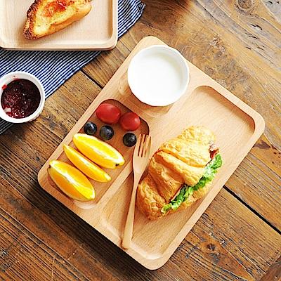 Homely Zakka 木趣食光日系木質長方型分隔餐盤