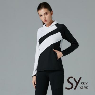 【SKY YARD 天空花園】小立領異色拼接上衣-黑色