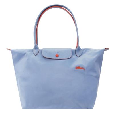 LONGCHAMP Le Pliage Collection刺繡長把折疊水餃包(大/霧藍)