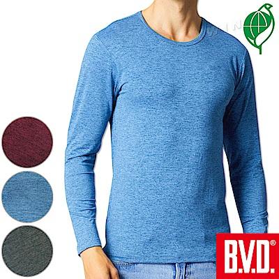 BVD 再生彩紋輕暖絨圓領長袖衫(三色可選)-2入組