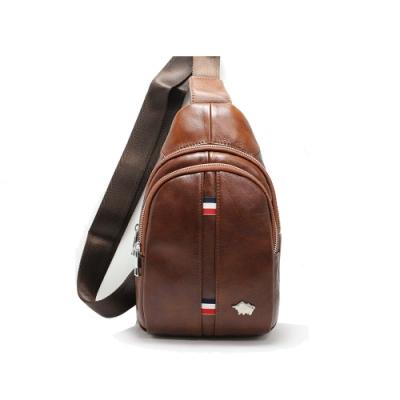 DRAKA達卡 - 路易XIV系列- 牛皮單肩斜背胸包-平紋咖啡