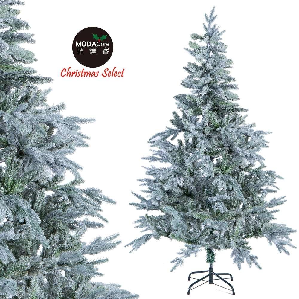 摩達客 7尺(210cm)夢幻PE+PVC混合葉擬真植雪刷雪聖誕樹 裸樹(不含飾品不含燈)