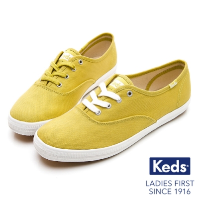 Keds CHAMPION 玩色經典綁帶休閒鞋-黃綠