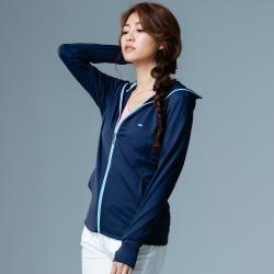【LACHELN】女款全面防曬口罩式快乾透氣連帽針織外套-深藍色(L81W506)