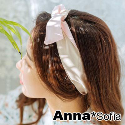 【3件5折】AnnaSofia 雙面色小清新 兔耳髮帶髮圈領結帶(粉+駝系)
