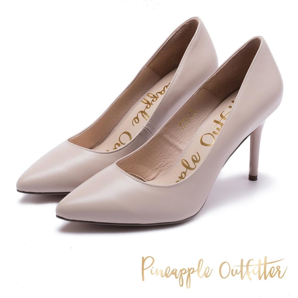 Pineapple Outfitter 優雅女士 真皮素面尖頭高跟鞋-粉色