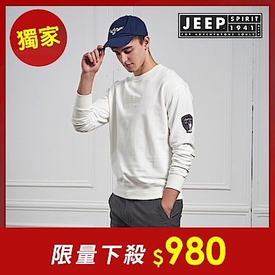 JEEP 簡約舒適立體圖騰長袖TEE-男女適穿 -象牙白