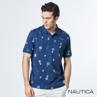 Nautica 熱帶雨林印花短袖POLO衫-藍