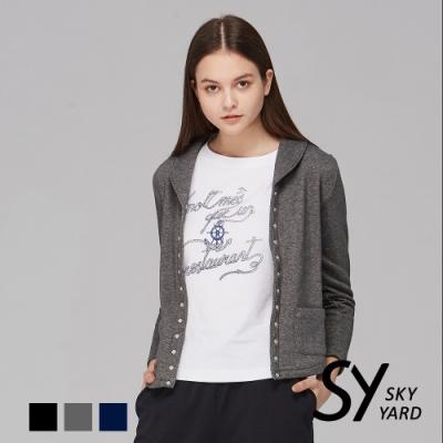 【SKY YARD 天空花園】毛呢開釦翻領外套-灰色