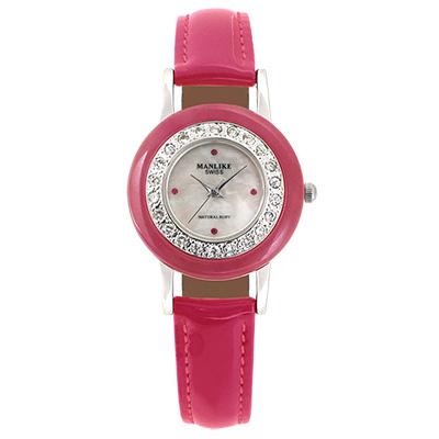 Manlike 曼莉萊克 玉石天然紅寶石珠寶錶 紅粉