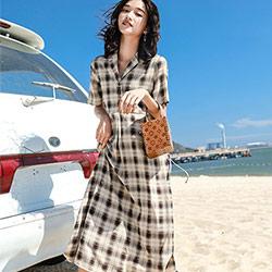 復古西裝翻領格紋短袖洋裝 (格子)-Kugi Girl