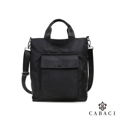 CABACI 簡約日式風格素色防潑水手提斜背包-黑色