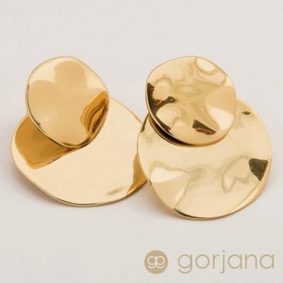 GORJANA 波浪紋鍍18K金幣耳環