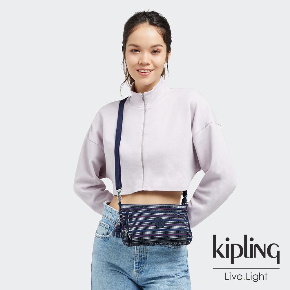 Kipling 圖騰拼接印花前袋拉鍊長形肩背包-MYRTE