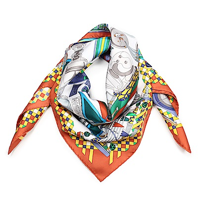 HERMES 獎杯圖騰真絲披肩方巾-白色