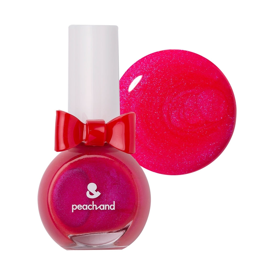 PeachAnd 兒童安全水溶性蝴蝶結指甲油 兒童孕婦專用彩妝 #小紅帽珍珠紅