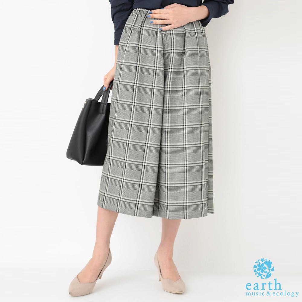 earth music 經典格紋七分寬褲 @ Y!購物