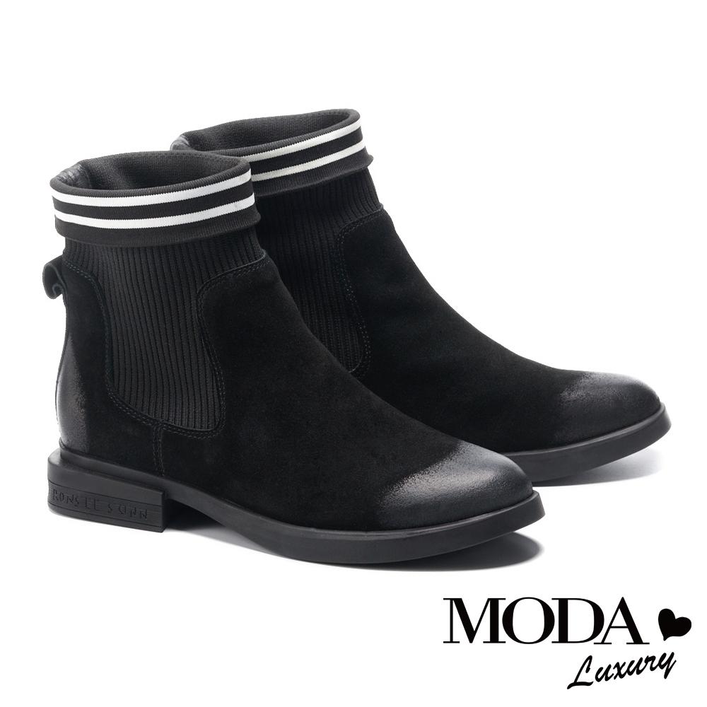 短靴 MODA Luxury 復古仿舊異材質拼接牛麂皮粗跟靴-黑
