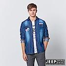 JEEP 刷色牛仔長袖休閒襯衫-藍色