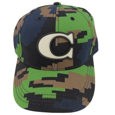 COACH 經典C字LOGO迷彩風棒球帽/鴨舌帽(綠)