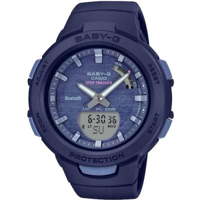 CASIO 卡西歐 BABY-G 藍牙計步手錶-海洋藍(BSA-B100AC-2A)