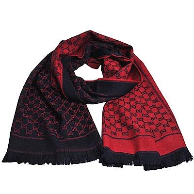 GUCCI SU SOFT GG LOGO 羊毛雙面寬版造型披肩/圍巾(深藍/紅)