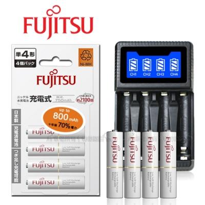 日本 Fujitsu 低自放電4號750mAh充電電池組(4號4入+四槽USB充電器+送電池盒)