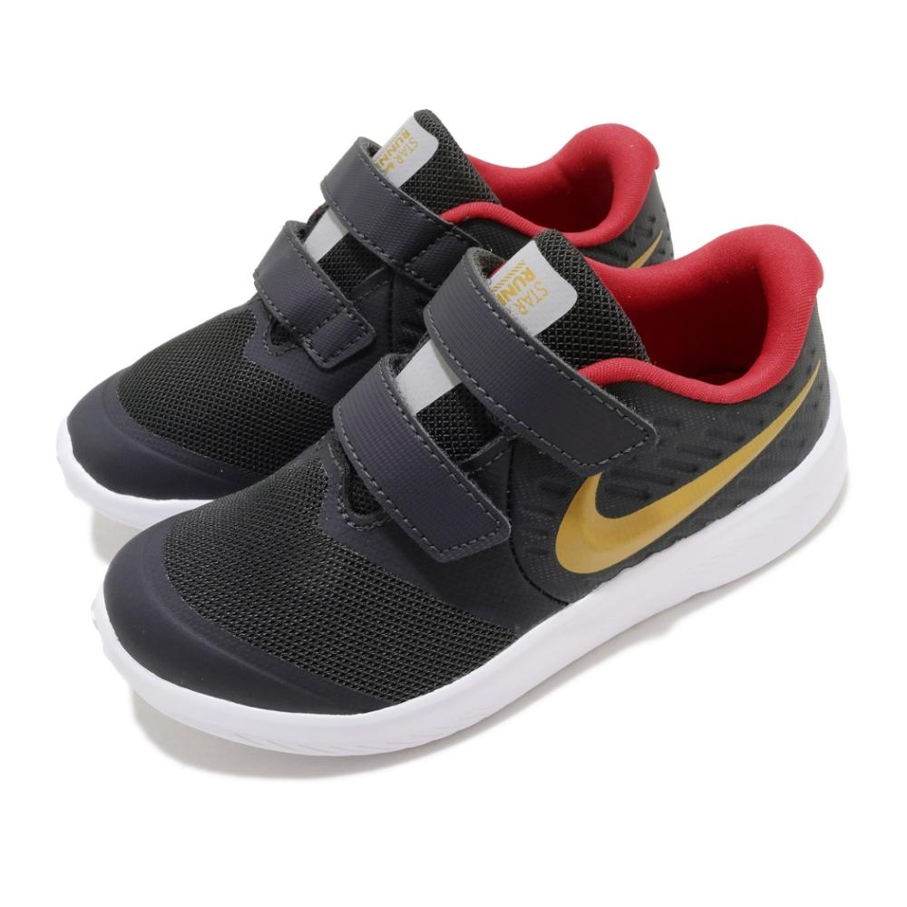 Nike 慢跑鞋 Star Runner 2 運動 童鞋 輕量 透氣 舒適 避震 魔鬼氈 小童 黑 金 AT1803010
