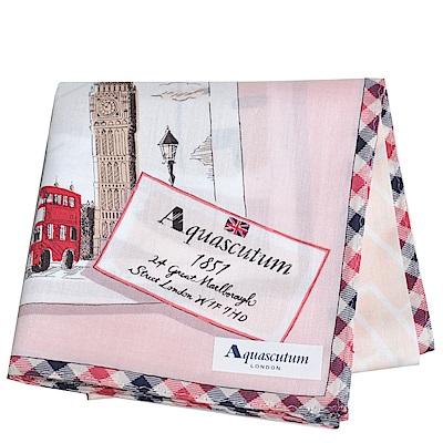 Aquascutum 品牌格紋滾邊倫敦笨鐘圖騰地圖LOGO帕領巾(粉紅系)