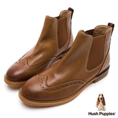 Hush Puppies Bailey 個性皮革女短靴-棕色