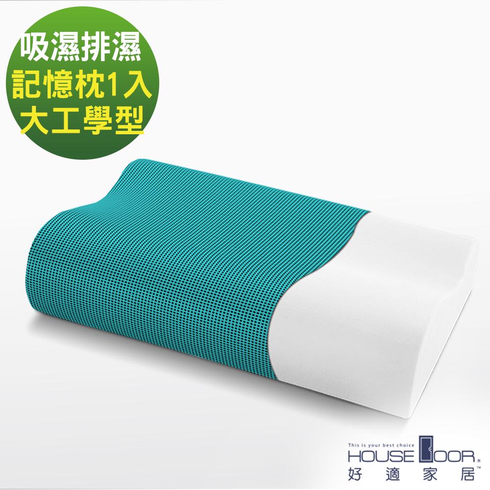 House Door 歐美熱銷款 超吸濕排濕表布 工學型釋壓記憶枕-大尺寸1入