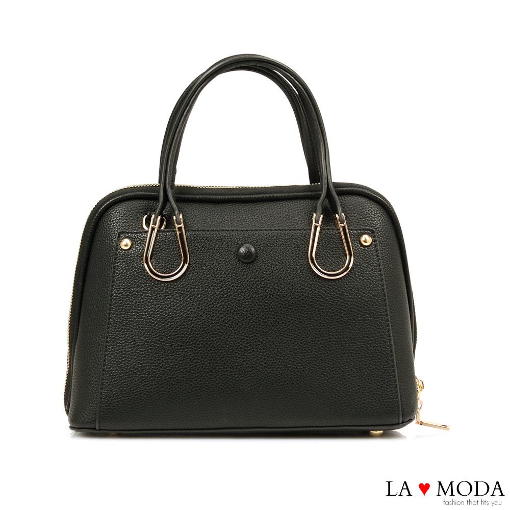 La Moda 優雅淑女風釦飾荔枝紋手提肩背包(黑)