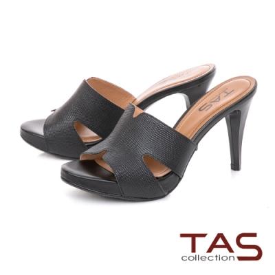 TAS 鏤空剪裁蜥蜴壓紋高跟涼拖鞋-高貴黑