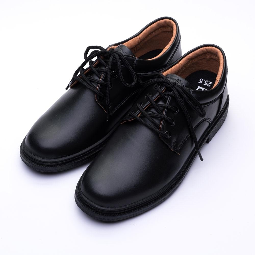 ARRIBA艾樂跑男鞋-綁帶式真皮皮鞋 學生鞋-黑(AB6835)