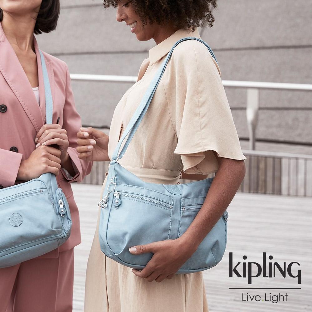 Kipling 寧靜海洋藍雙拉鍊前袋肩背包-IZELLAH