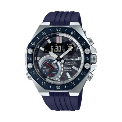 CASIO卡西歐 EDIFICE 藍牙 碳纖維錶盤 八角形錶圈 賽車 聯名錶款 ECB-10AT-1A_48.5mm