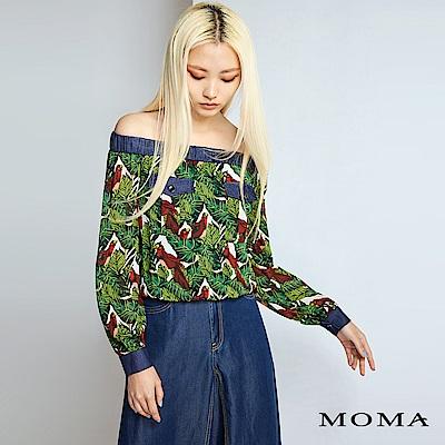 MOMA 熱帶叢林一字領短版上衣