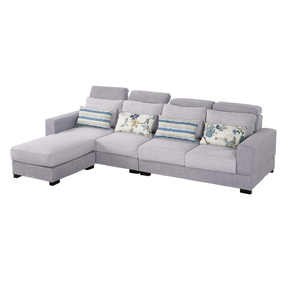 文創集 柯奇斯簡約風亞麻布L型沙發組合(四人座+椅凳)-285x178x70cm免組