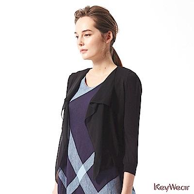 KeyWear奇威名品     氣質拼接雪紡百搭七分袖外套-黑色