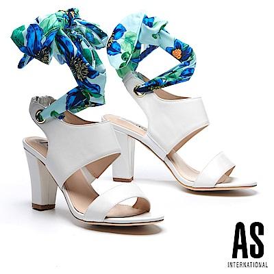 涼鞋 AS 義式情調兩穿造型羊皮美型高跟涼鞋-白