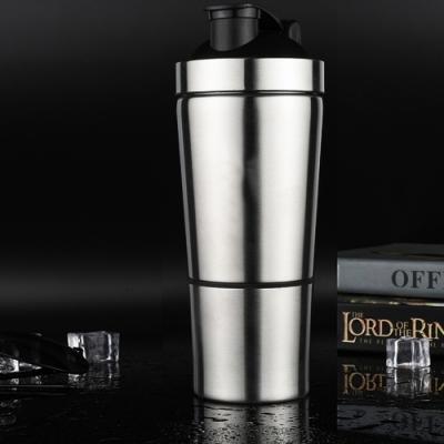 不鏽鋼健身搖搖刻度杯-附飲用杯的雙層設計