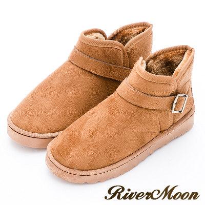 River&Moon大尺碼情侶款-百搭扣環雪靴-黃棕