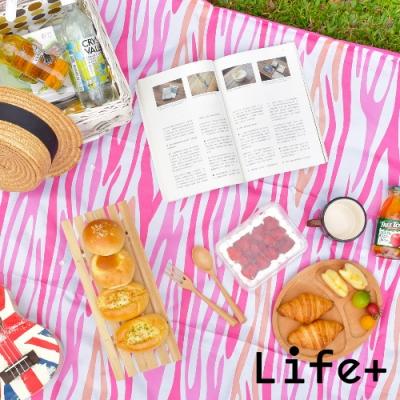 Life Plus Pic艾樂摩 折疊式防潑水多用野餐墊 (虎紋粉色)