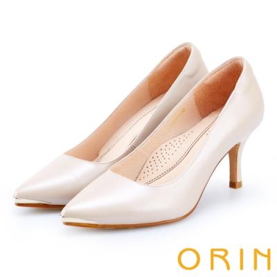 ORIN 優雅女人 羊皮尖頭金屬條百搭高跟鞋-裸色