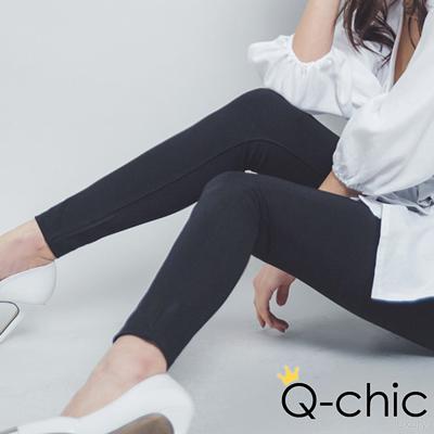 正韓 韓系高彈力修身窄管褲 (黑色)-Q-chic