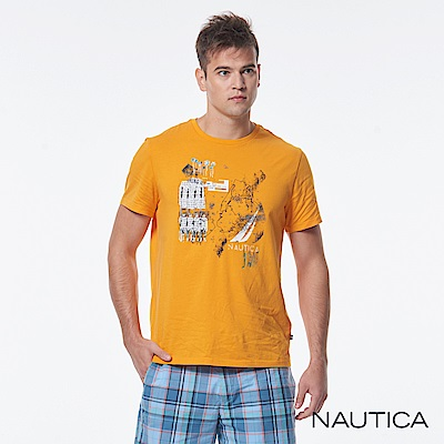 Nautica斑駁圖騰純棉短袖TEE-橘