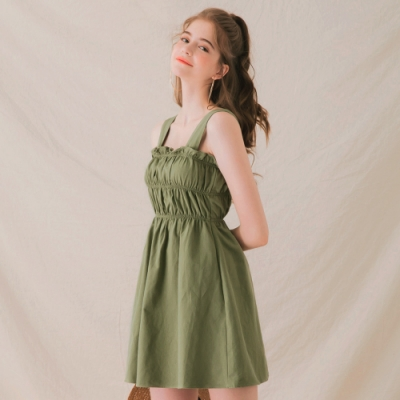 AIR SPACE LADY 微甜女孩荷葉短洋裝(綠)