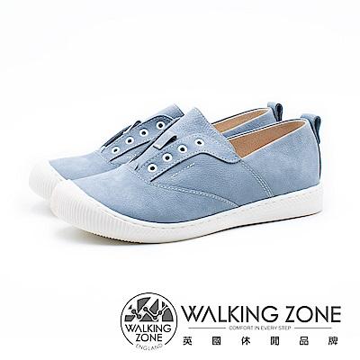WALKING ZONE 真皮直套鬆緊休閒鞋 女鞋 - 水藍(另有淡粉)