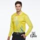 【Lynx Golf】男款吸汗速乾Lynx字樣印花山貓繡花長袖POLO衫-黃色 product thumbnail 2